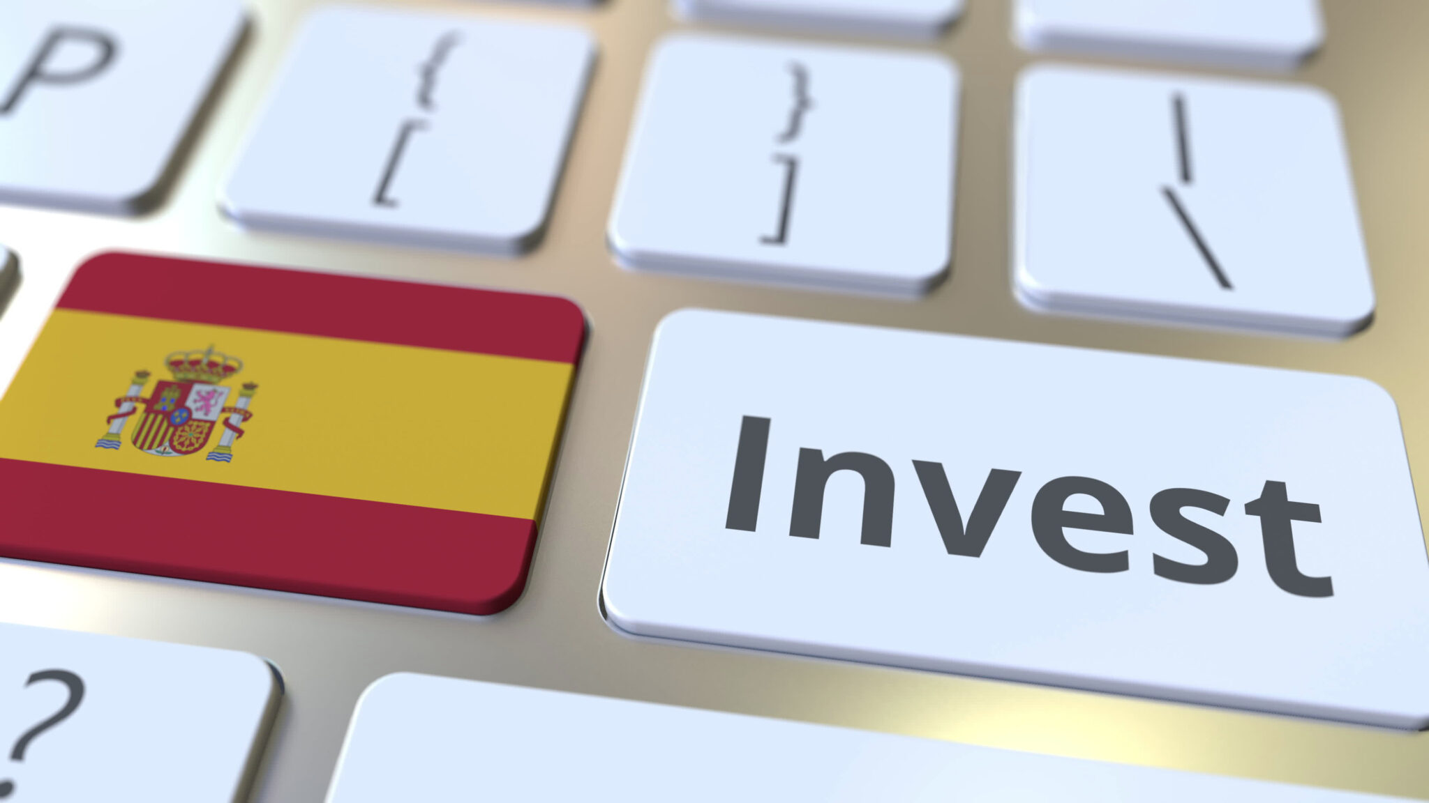 Invest,Text,And,Flag,Of,Spain,On,The,Buttons,On